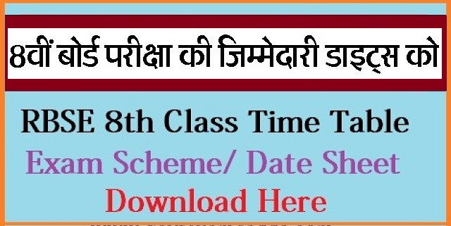 Rajasthan 8th Class Time Table 2021 PDF Download